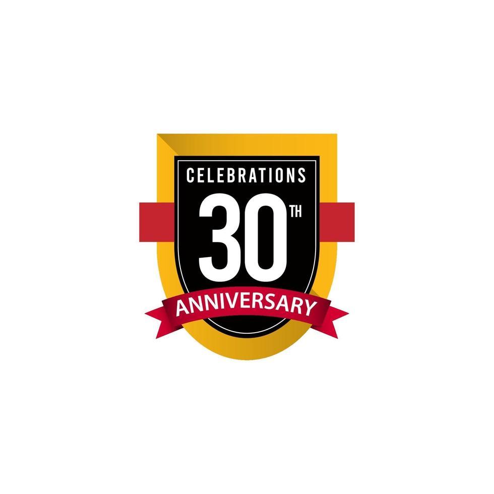 Ilustração de design de modelo de vetor ouro preto e branco comemorações do 30º aniversário