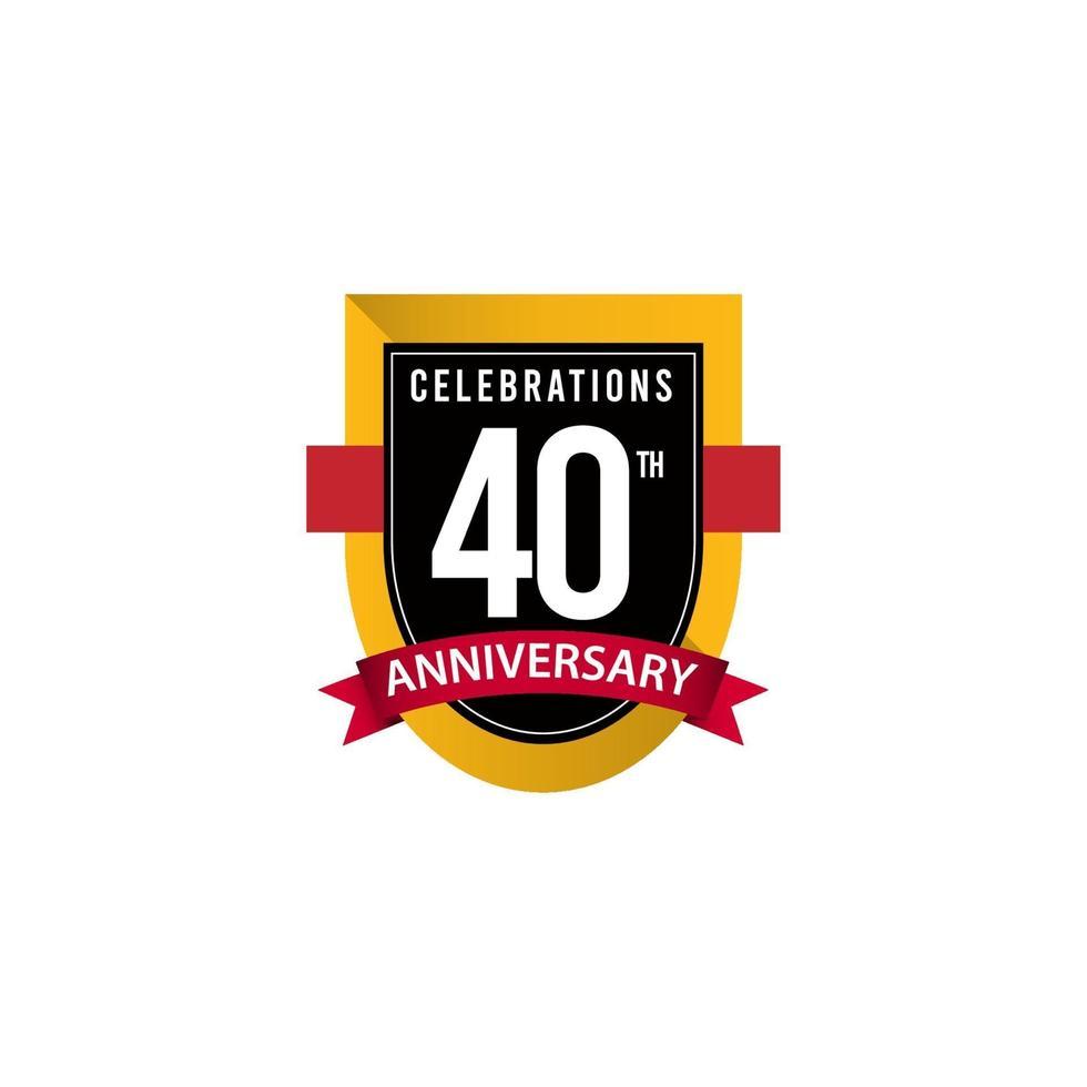 40º aniversário celebrações ouro preto branco modelo de ilustração vetorial vetor