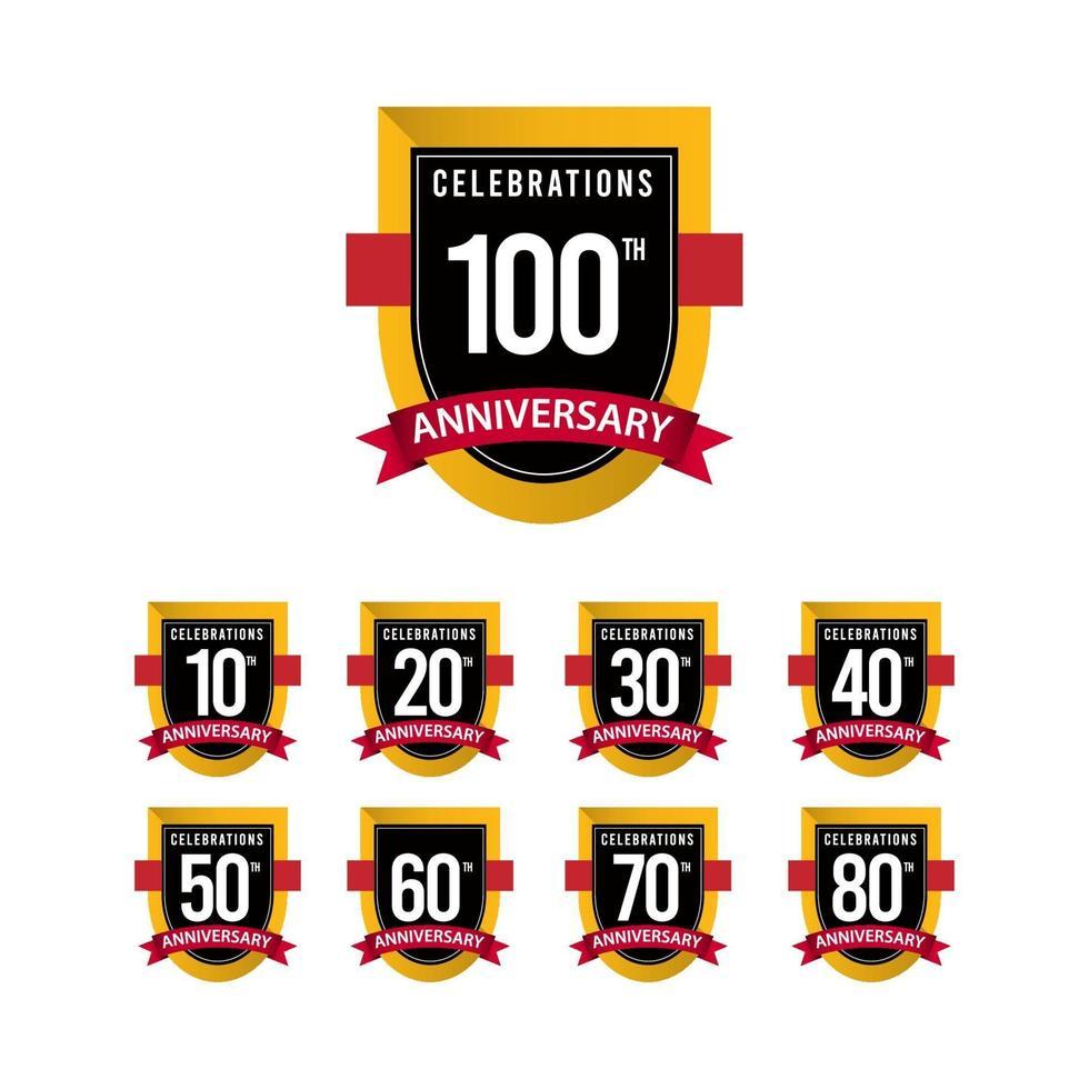 100º aniversário comemorações ouro preto branco modelo de ilustração vetorial vetor