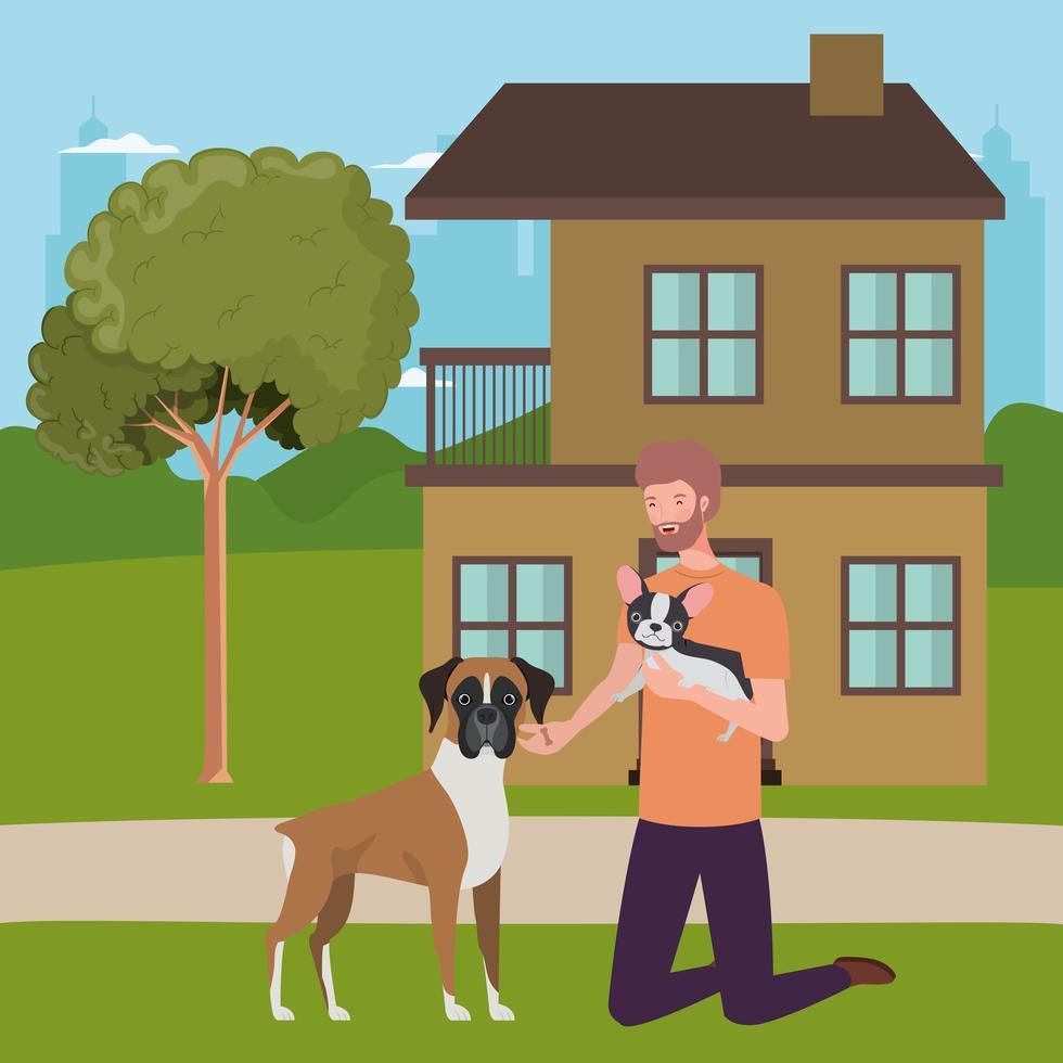 jovem com mascote de cachorro fofo vetor