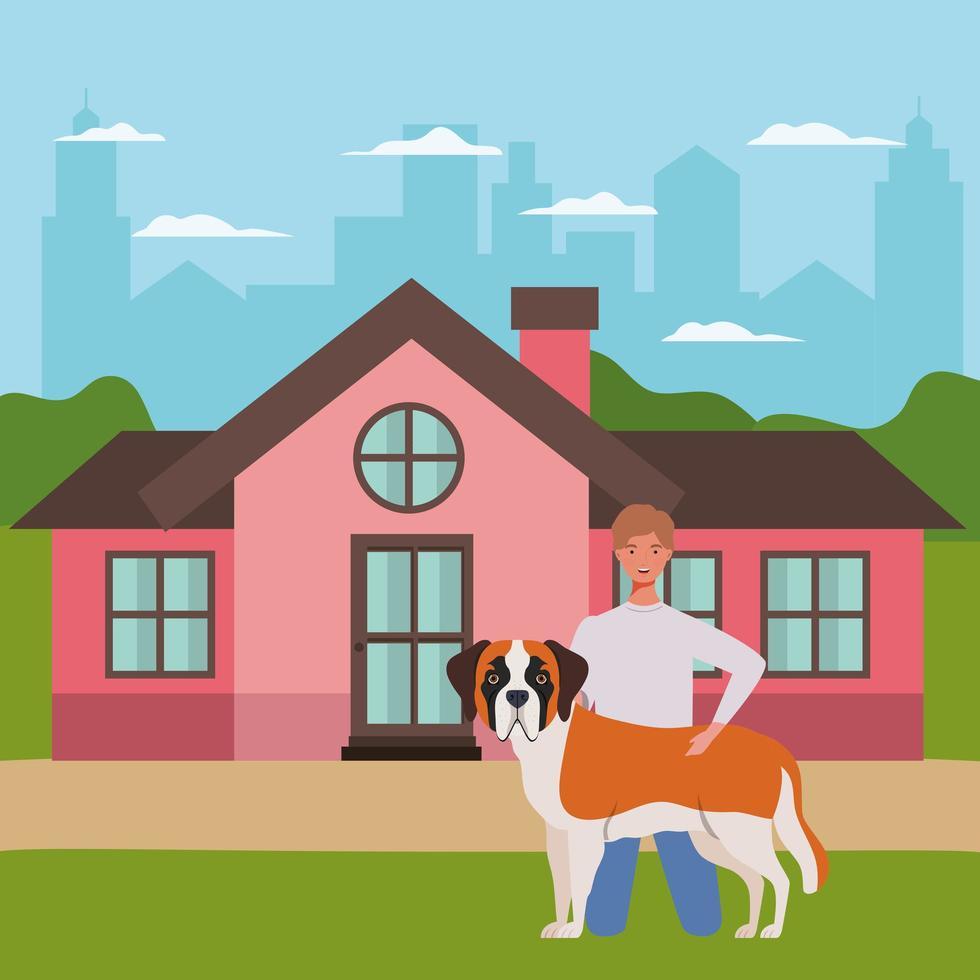 jovem com mascote de cachorro fofo na casa ao ar livre vetor
