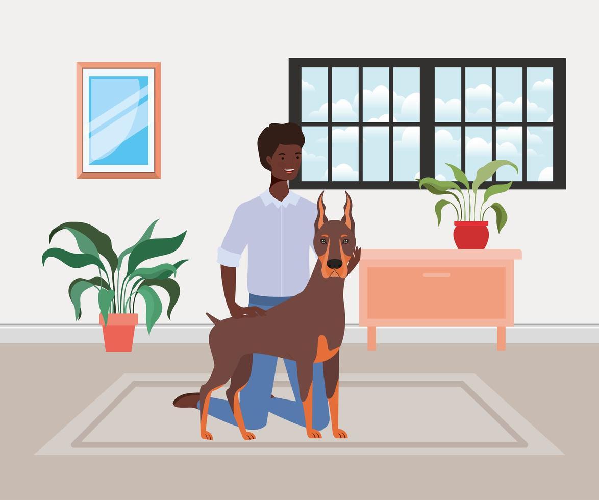 jovem afro com mascote de cachorro fofo na sala de casa vetor