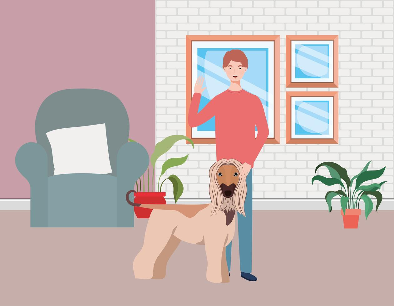 jovem com um cachorro fofo mascote na sala de estar vetor