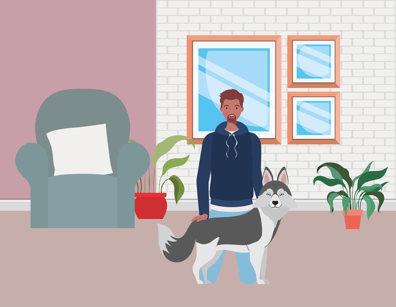 jovem com cachorro fofo mascote na sala de estar vetor