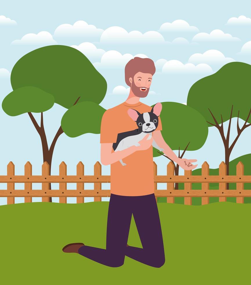jovem levantando o mascote do cachorro fofo no acampamento vetor