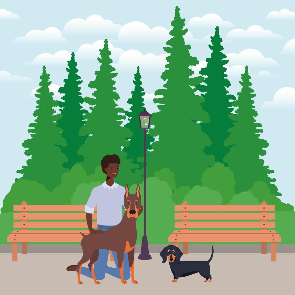 jovem afro com mascotes de cachorros fofos no parque vetor