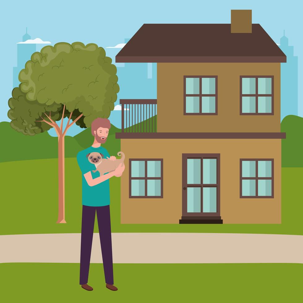 homem levantando mascote de cachorro na casa ao ar livre vetor
