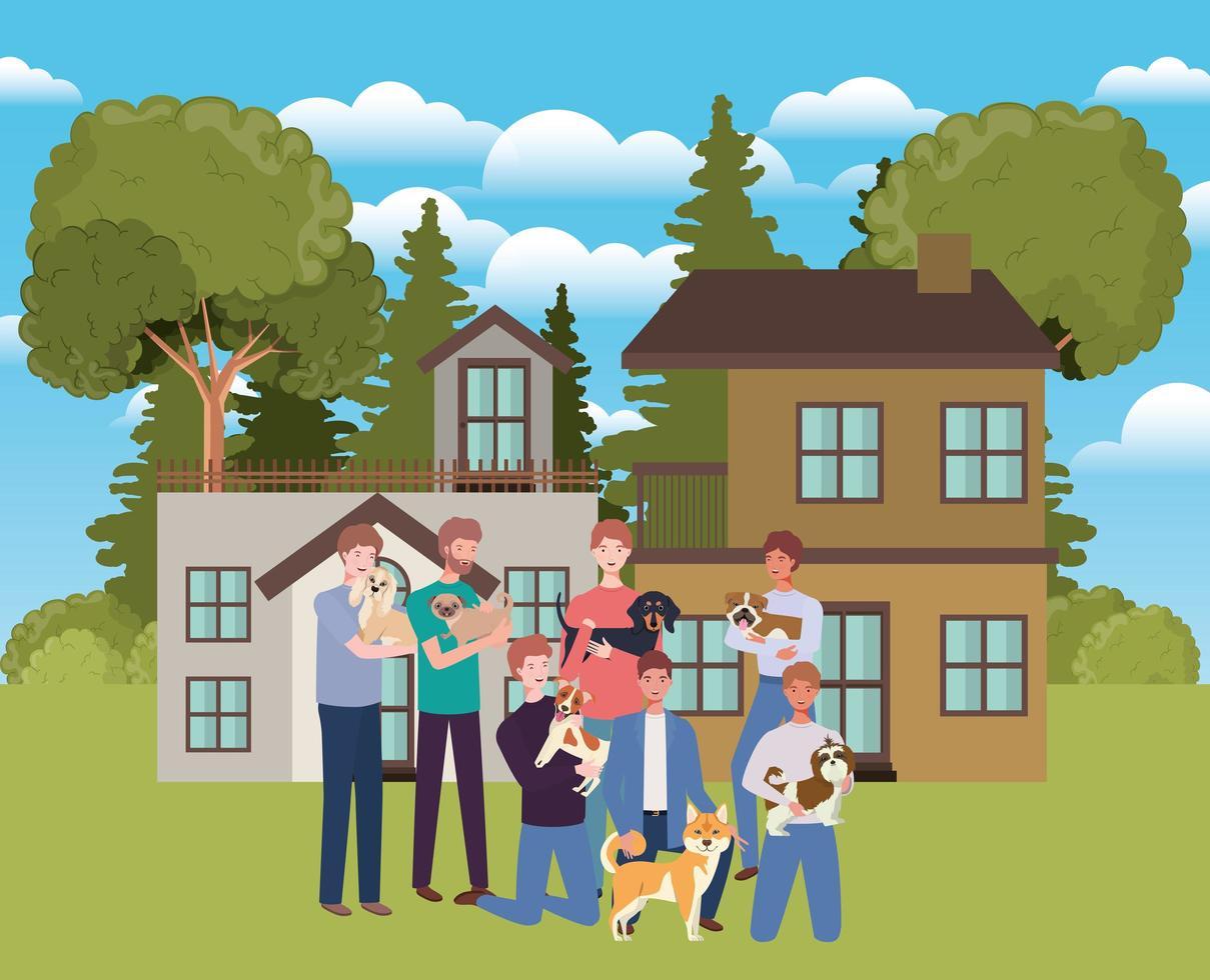 grupo de homens com mascotes fofinhos em casa ao ar livre vetor