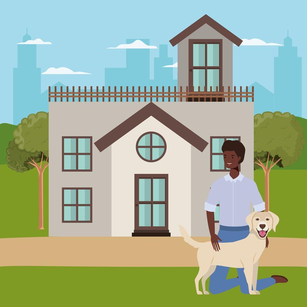 homem afro levantando mascote de cachorro na casa ao ar livre vetor