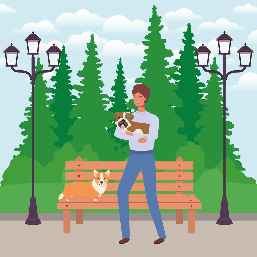 jovem com cães fofos mascotes no parque vetor