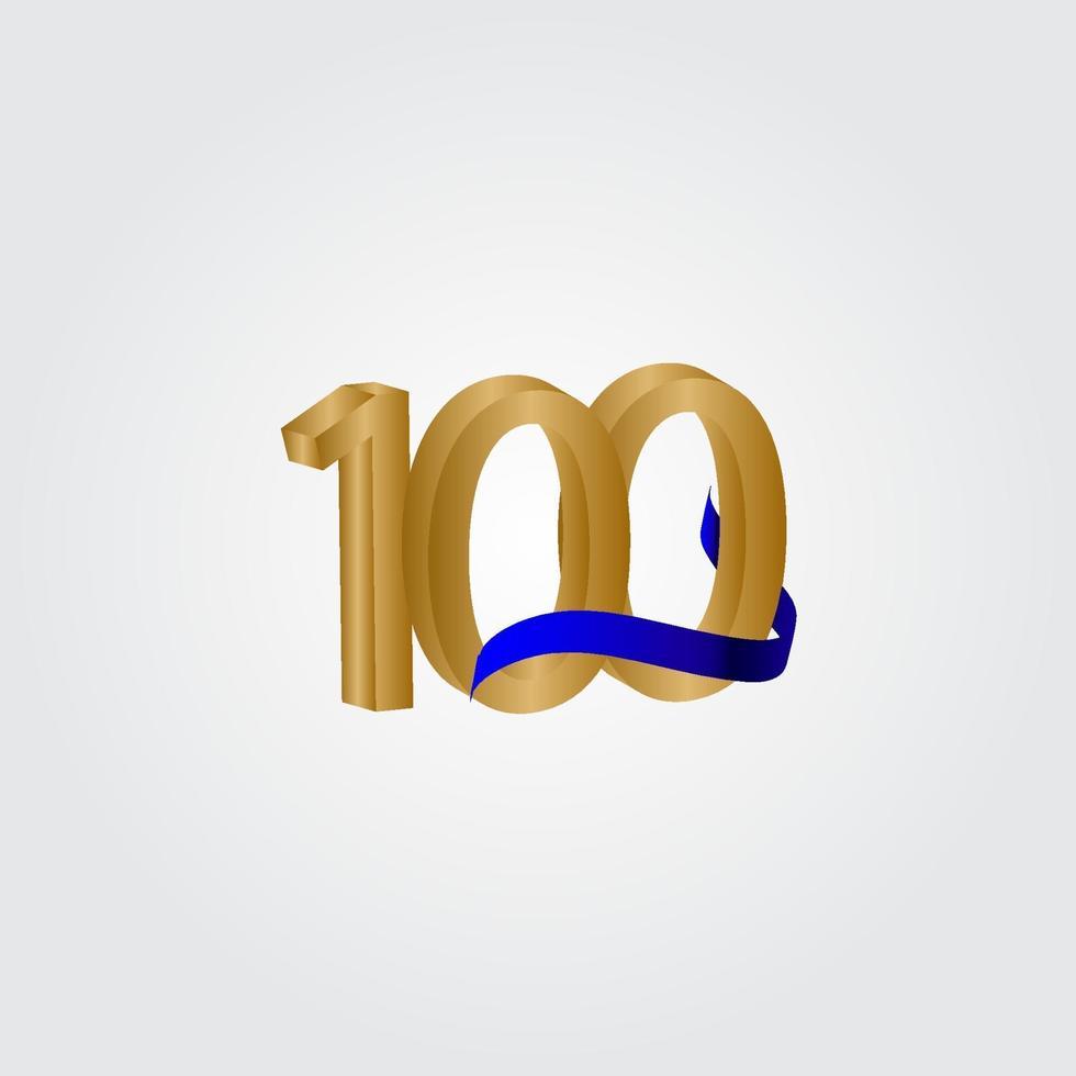100 anos aniversário celebração número ouro vetor modelo design ilustração