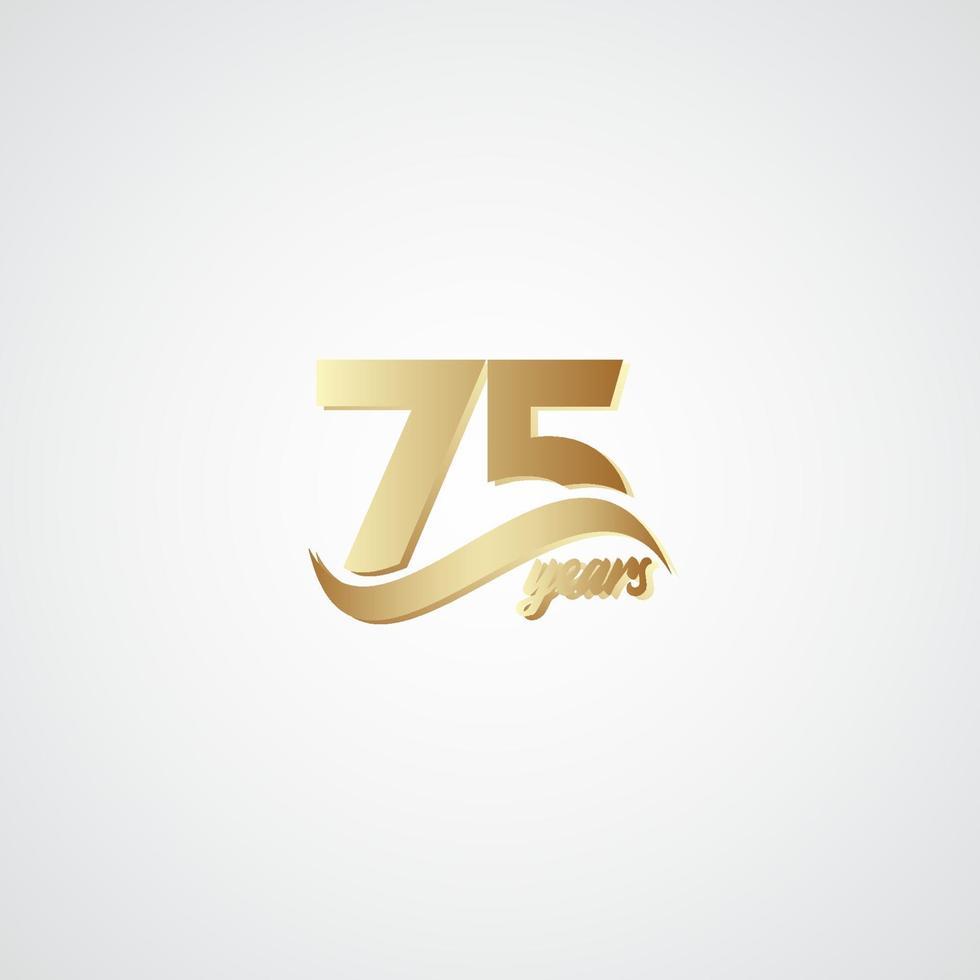 75 anos de comemoração de aniversário elegante logotipo de ouro ilustração vetorial de design vetor