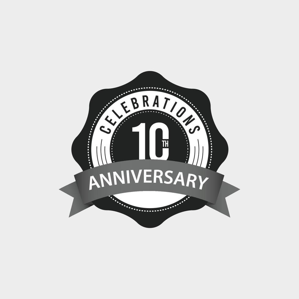Ilustração de design de modelo vetorial comemorações do 10º aniversário vetor