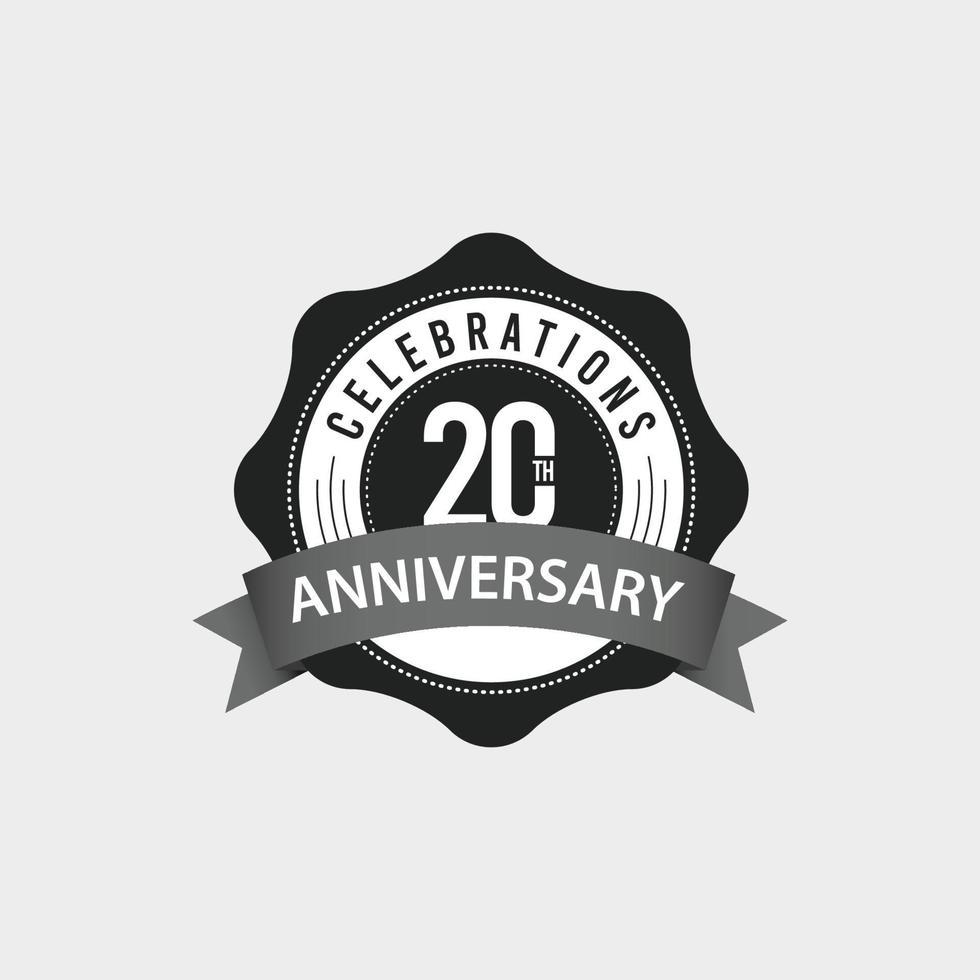 Ilustração de design de modelo vetorial comemorações do 20º aniversário vetor