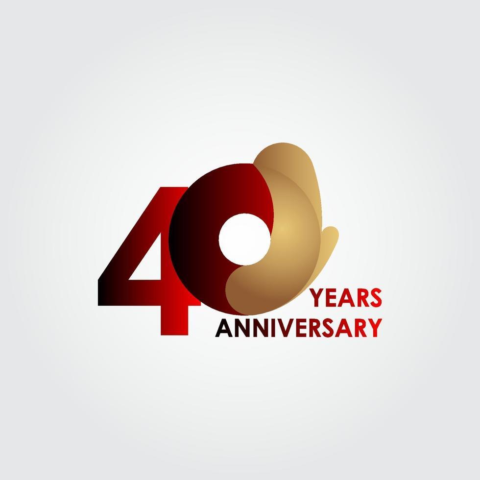 40 anos de comemoração de aniversário de ouro vermelho ilustração de design de modelo de vetor