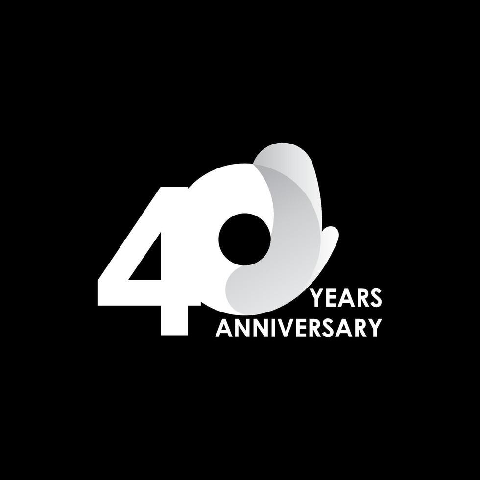 Ilustração de design de modelo de vetor de círculo branco 40 anos de celebração