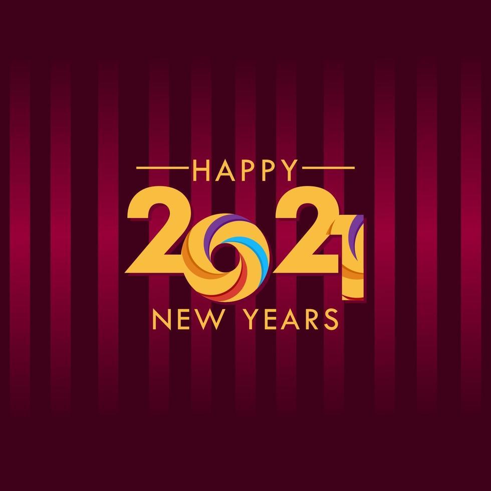 feliz ano novo 2021 celebração ilustração vetorial modelo design vetor