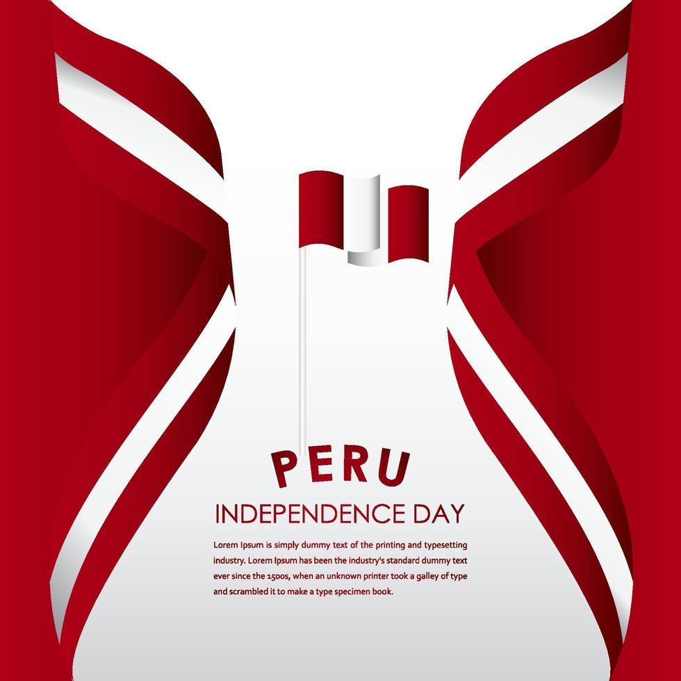 feliz celebração do dia da independência do Peru ilustração de design de modelo de vetor