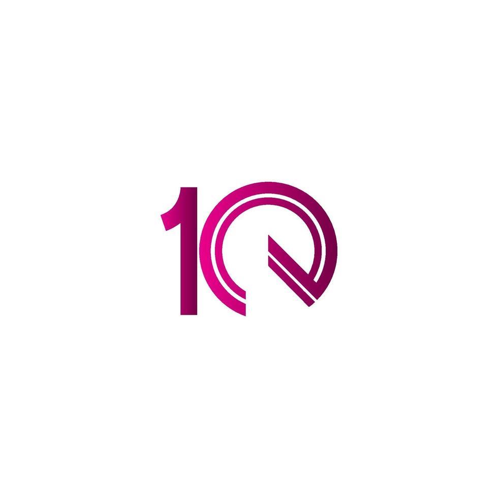 Celebração de aniversário de 10 anos ilustração de design de modelo vetorial linha roxa vetor