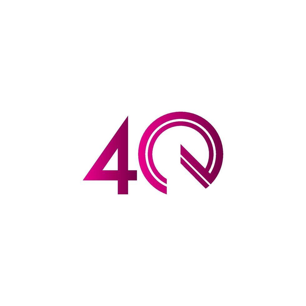 Celebração de aniversário de 40 anos ilustração de design de modelo vetorial linha roxa vetor