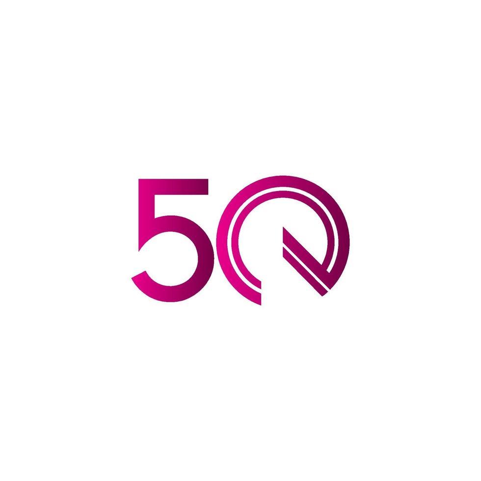 50 anos de comemoração de aniversário ilustração de design de modelo vetorial linha roxa vetor