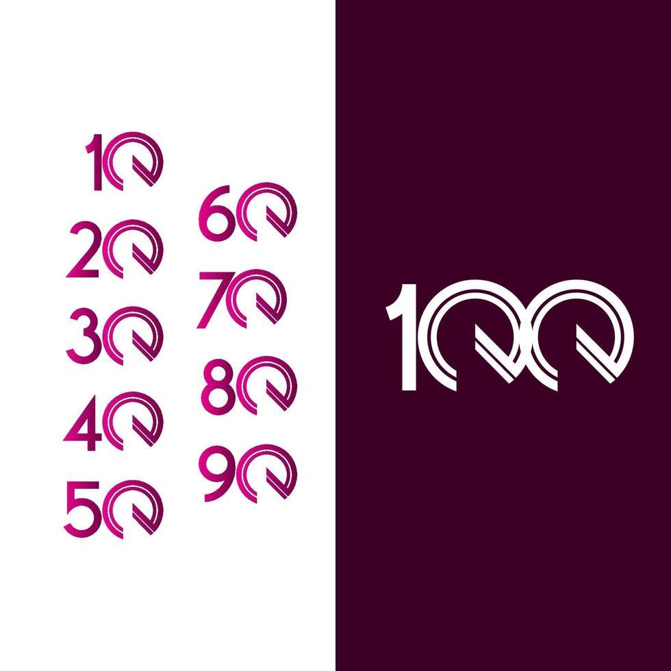 100 anos de comemoração de aniversário ilustração de design de modelo vetorial linha roxa vetor