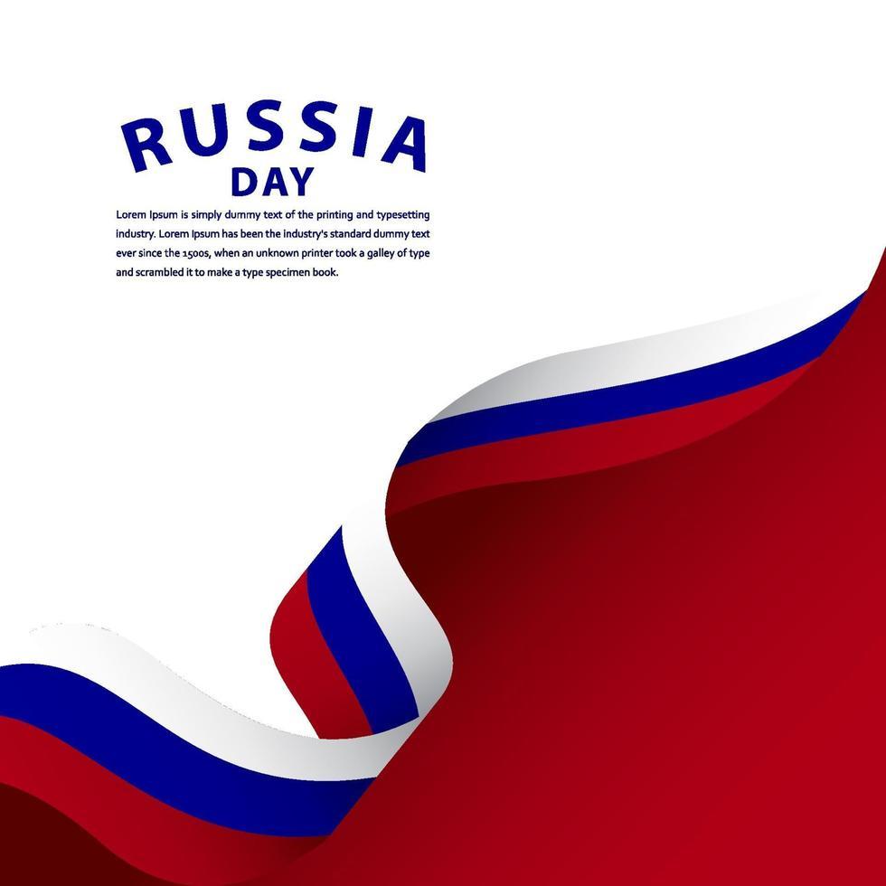 ilustração de design de modelo vetorial feliz celebração do dia da independência da Rússia vetor
