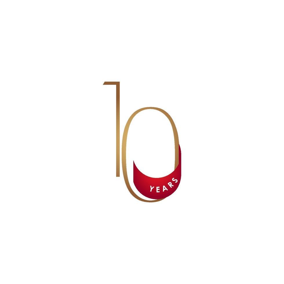10 anos de comemoração de aniversário elegante número ilustração vetorial de modelo de design vetor
