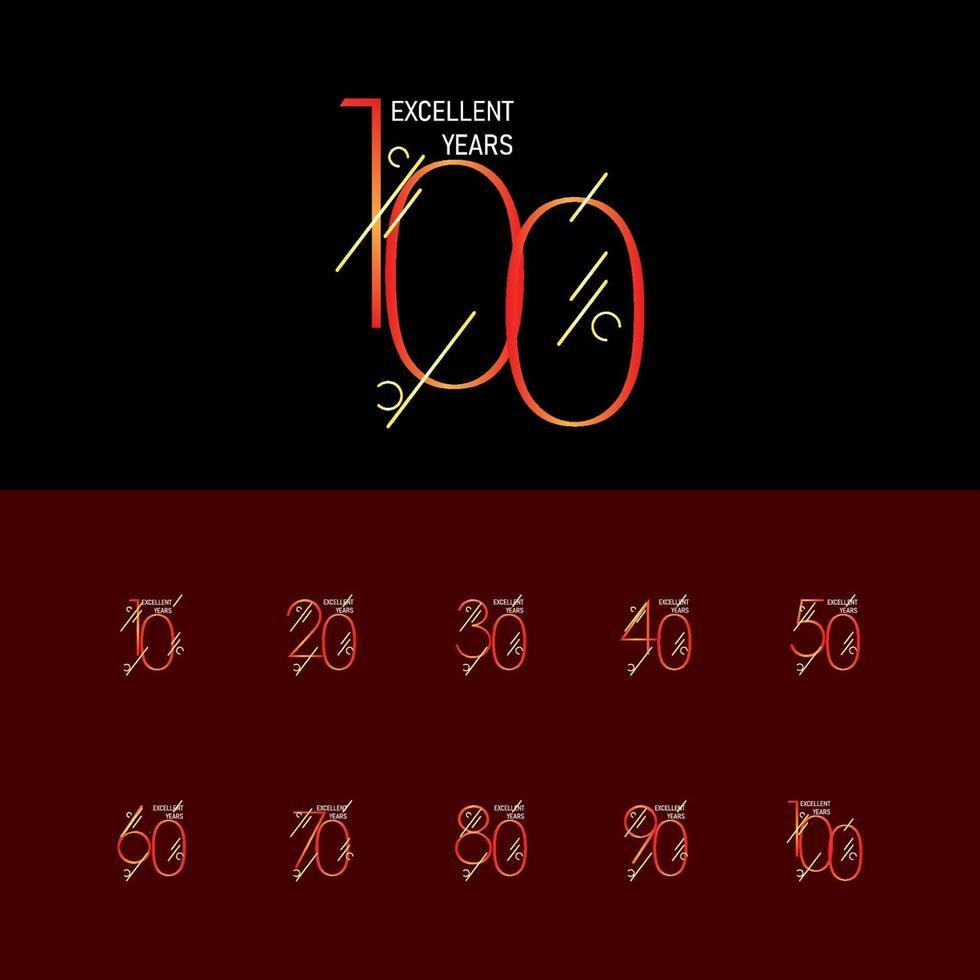 100 anos de comemoração de aniversário elegante número ilustração vetorial de modelo de design vetor