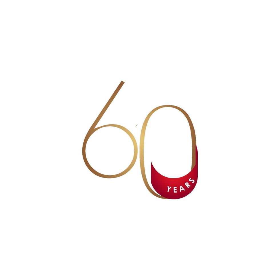 60 anos de comemoração de aniversário elegante número ilustração vetorial de modelo de design vetor
