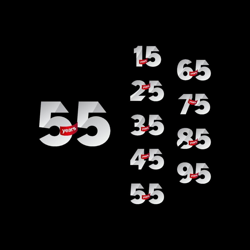 As celebrações do aniversário de 55 anos definem um número elegante ilustração vetorial de modelo vetor