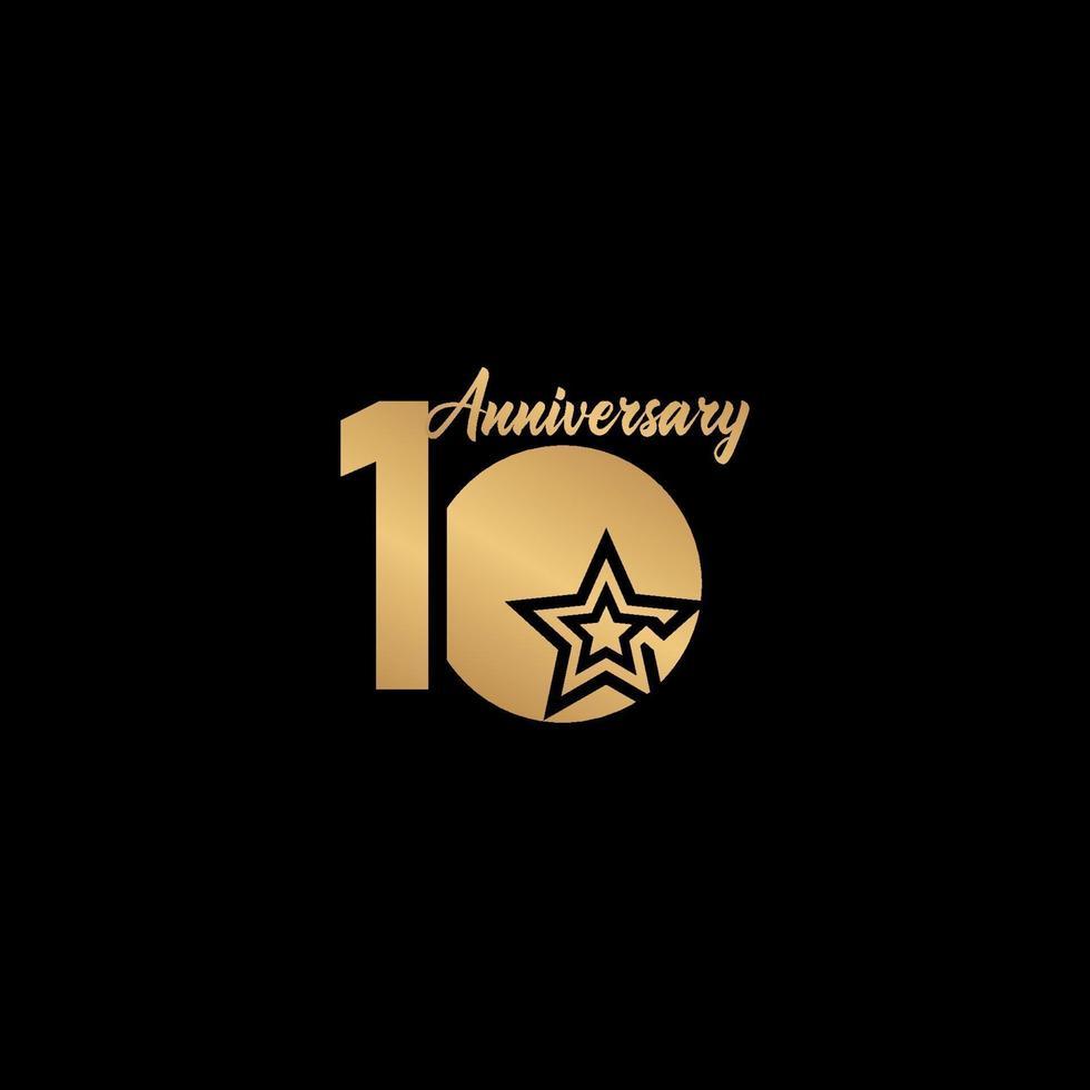 10 anos de comemoração de aniversário estrela ouro logotipo modelo design ilustração vetor