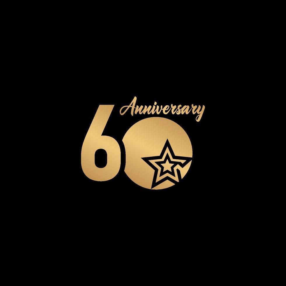 60 anos de celebração de aniversário estrela de ouro logotipo modelo design ilustração vetor