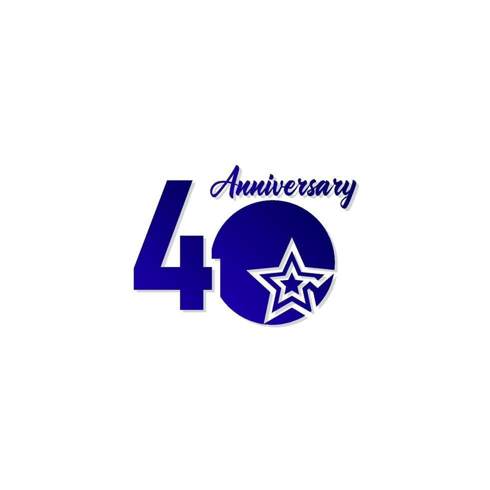 40 anos de celebração de aniversário estrela azul logotipo modelo ilustração vetorial vetor