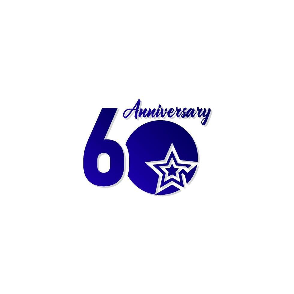 60 anos de celebração de aniversário estrela azul logotipo modelo ilustração vetorial vetor