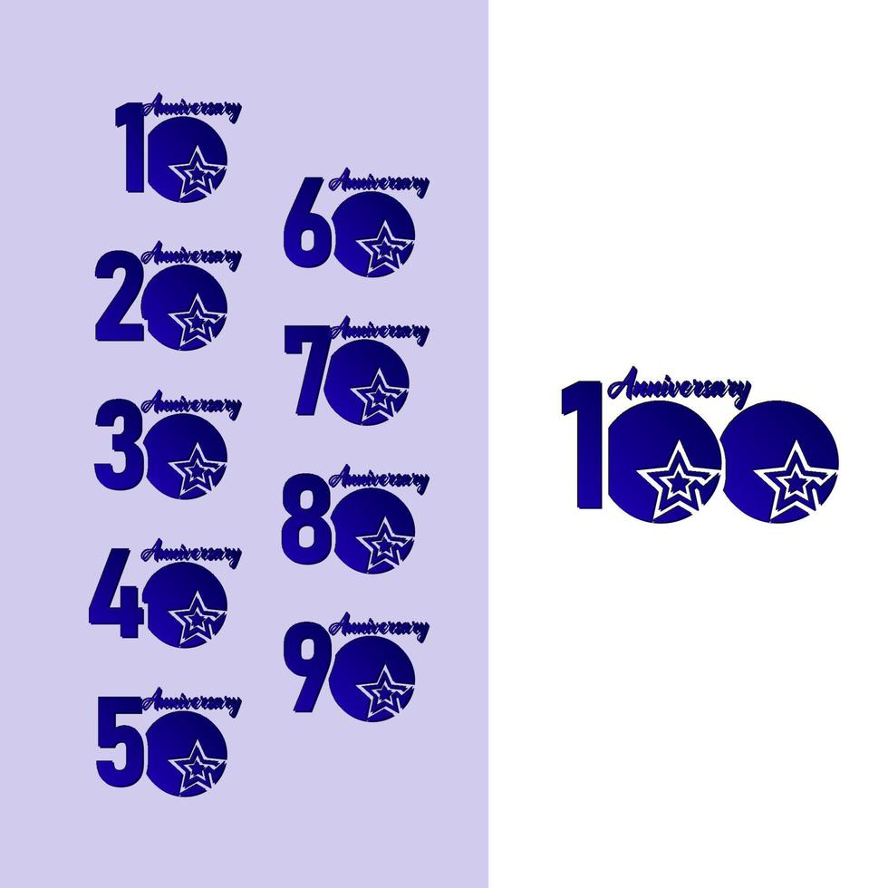 100 anos de comemoração de aniversário estrela azul logotipo modelo ilustração vetorial vetor