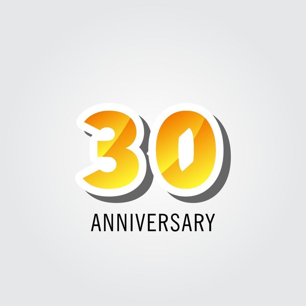 Ilustração do projeto do modelo do logotipo da celebração do aniversário de 30 anos vetor