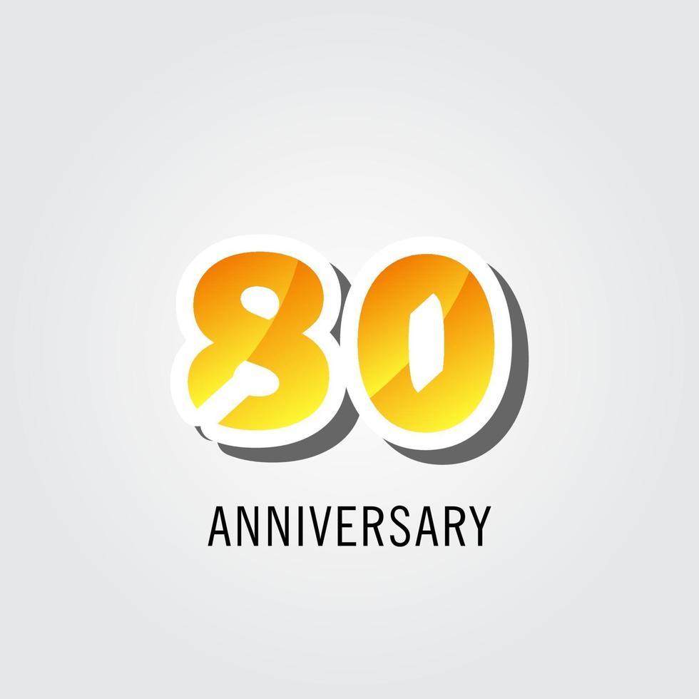 Ilustração de design de modelo de vetor de aniversário de 80 anos