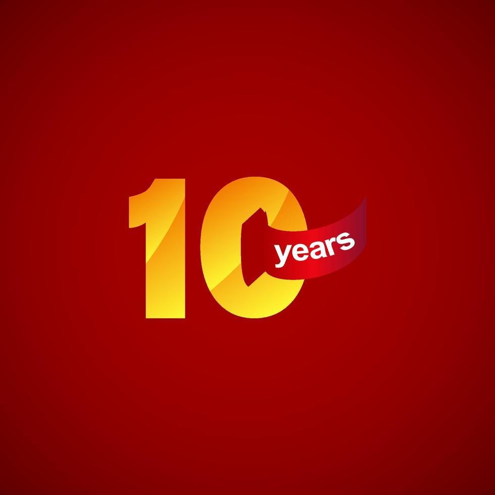 Ilustração do projeto do modelo do logotipo da celebração do aniversário de 10 anos vetor