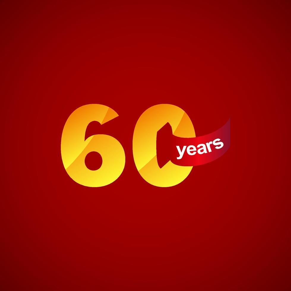 60 anos de comemoração de aniversário logotipo vetor modelo design ilustração