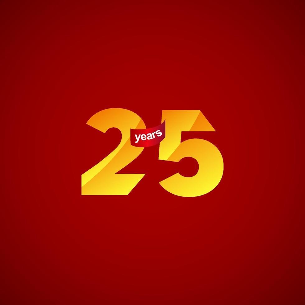 25 anos de comemoração de aniversário logotipo vetor modelo design ilustração