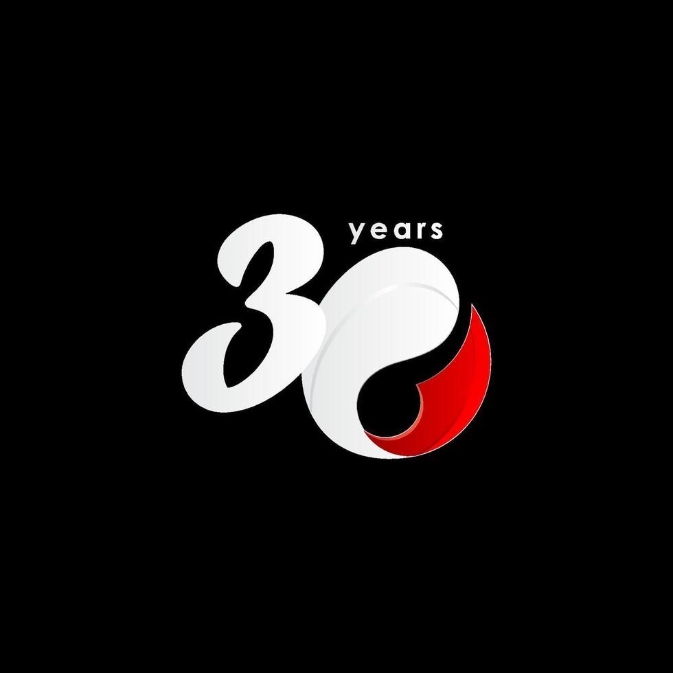 30 anos de comemoração de aniversário número vermelho e branco ilustração vetorial de design de modelo vetor
