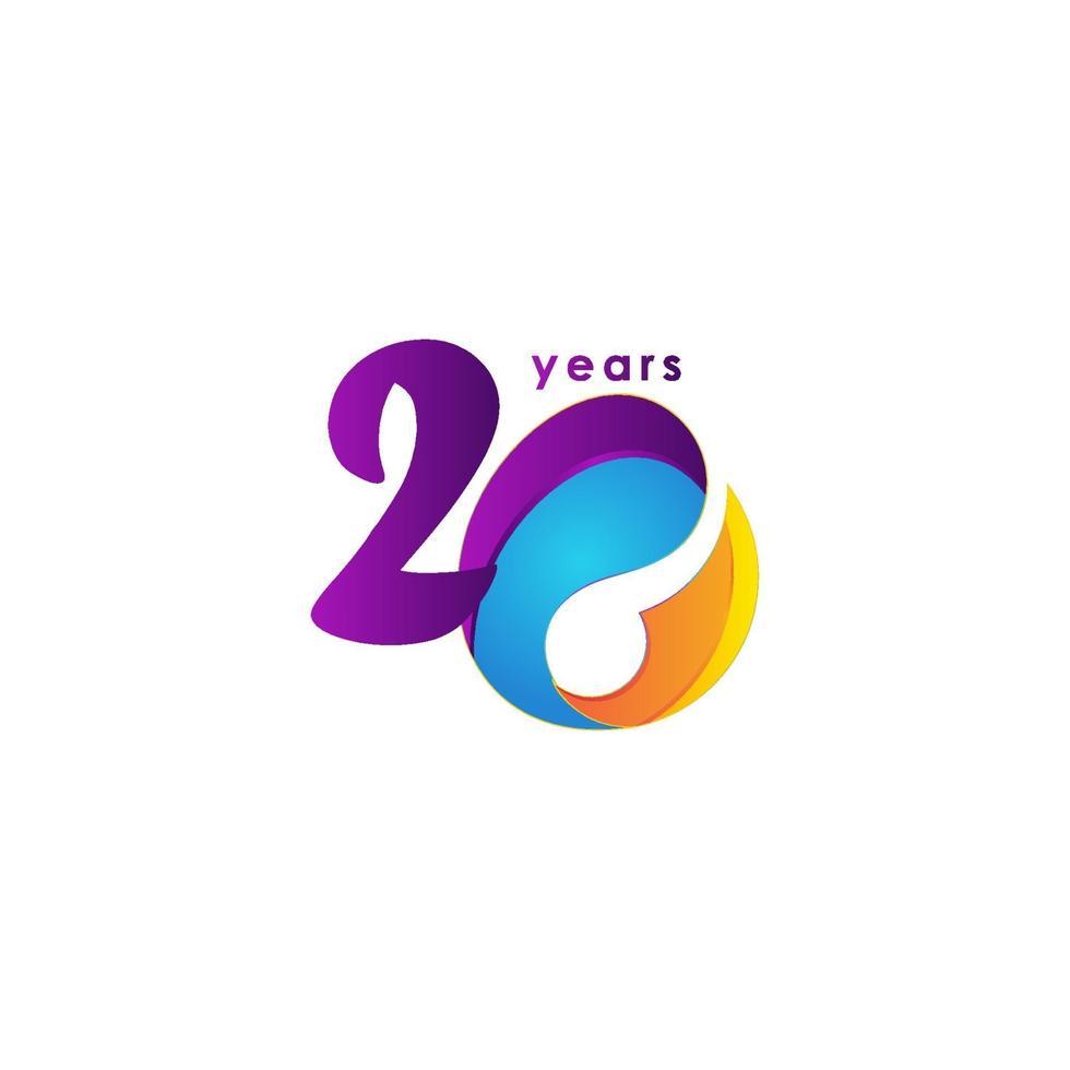 20 anos de comemoração de aniversário de ilustração de modelo vetorial vetor