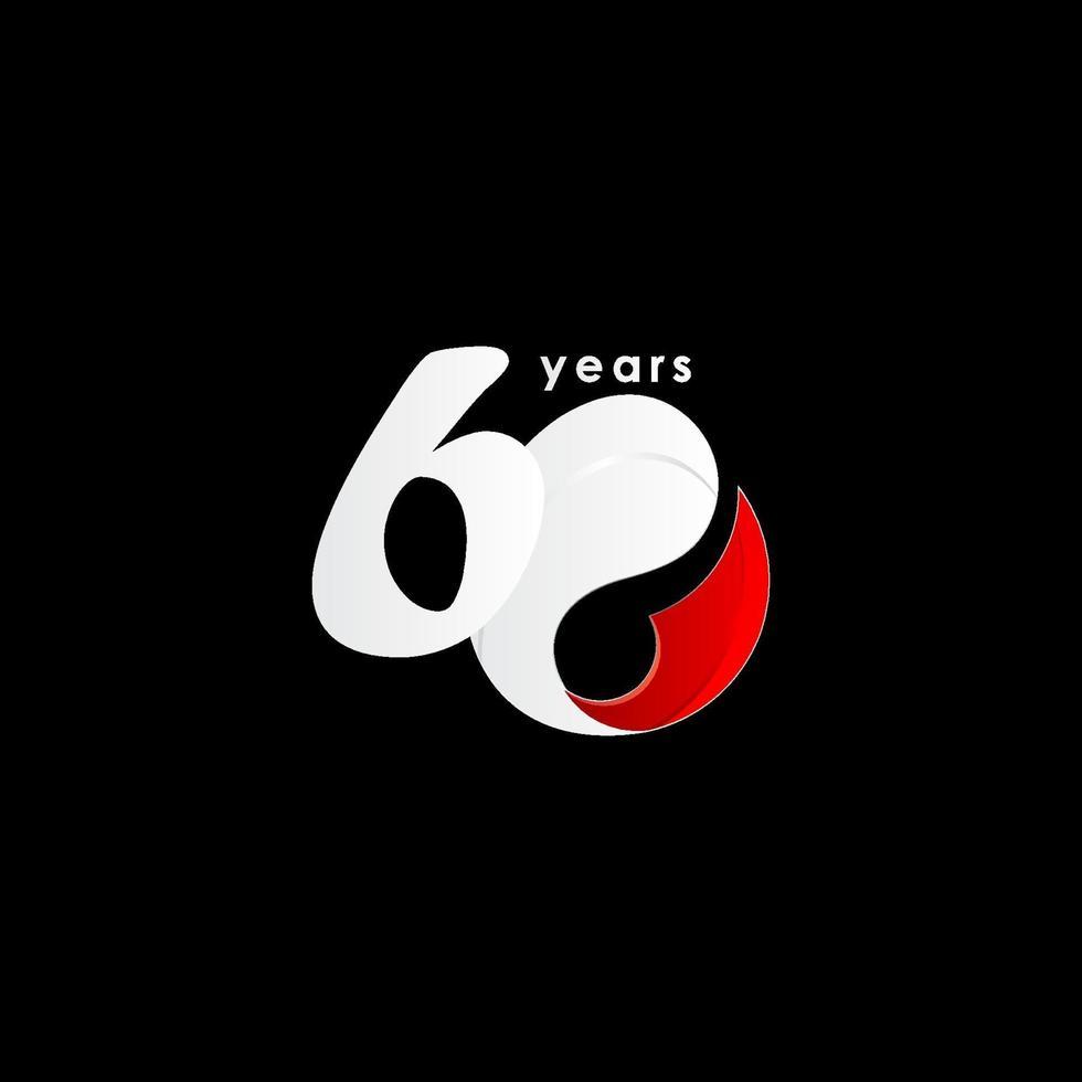 60 anos de comemoração de aniversário número vermelho e branco ilustração vetorial de design de modelo vetor