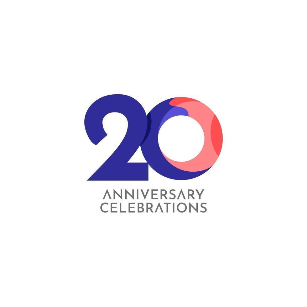 Ilustração de design de modelo vetorial celebração de aniversário de 20 anos vetor