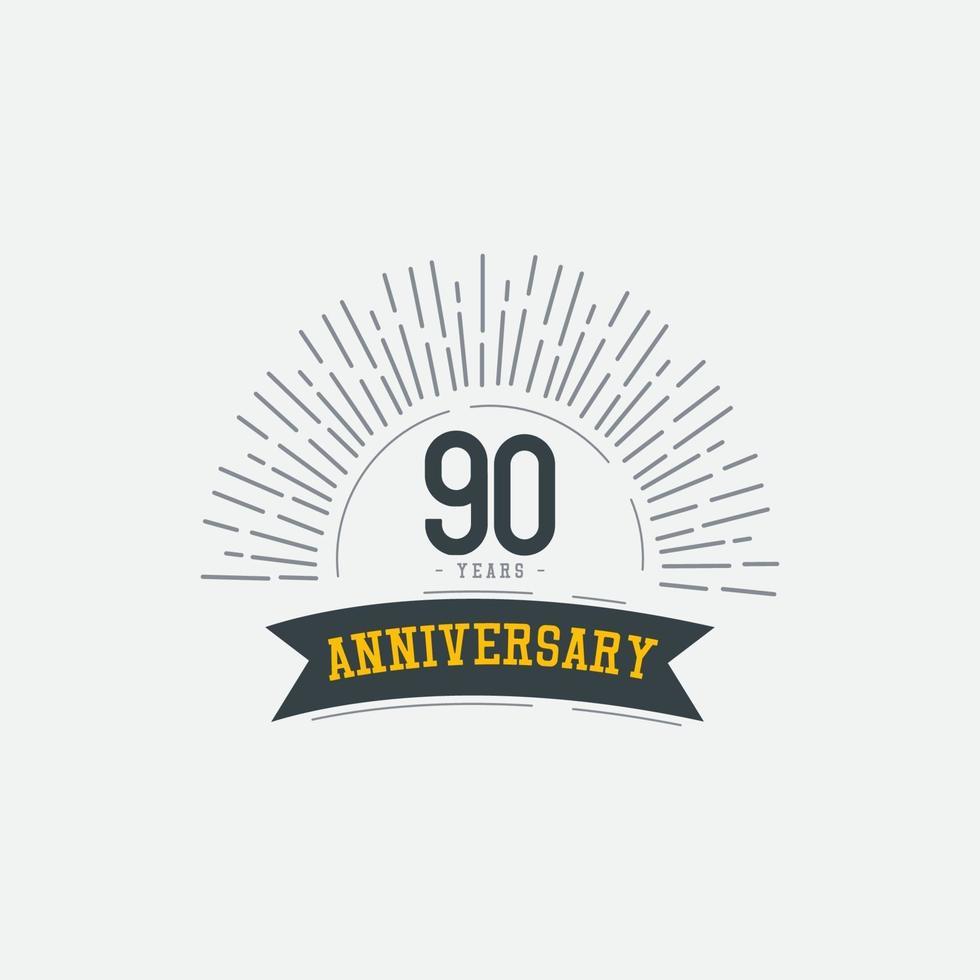 Ilustração de design de modelo vetorial comemorações de aniversário de 90 anos vetor