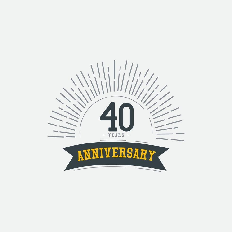 Ilustração de design de modelo vetorial comemorações de aniversário de 40 anos vetor