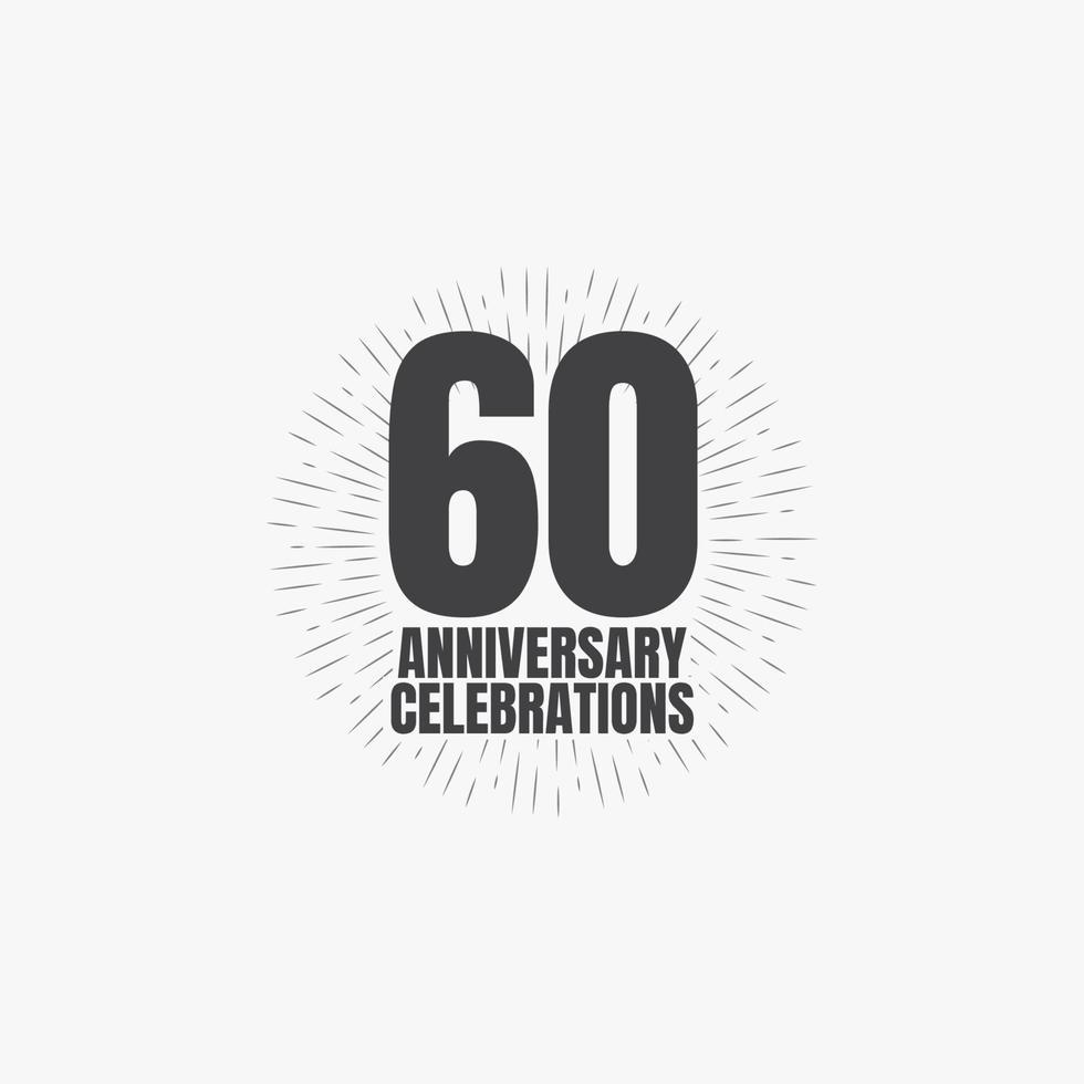 Ilustração de design de modelo vetorial de celebrações de aniversário de 60 anos vetor