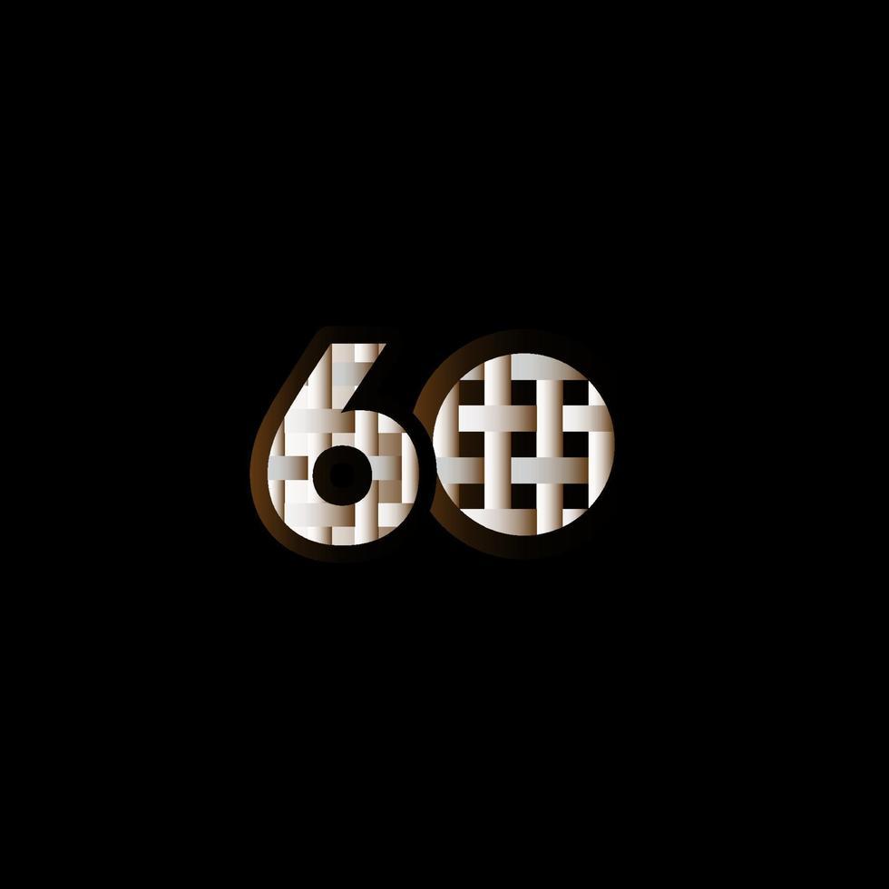 60 anos de celebração de aniversário elegante número preto ilustração de design de modelo vetorial vetor