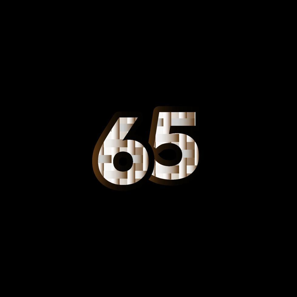 65 anos de comemoração de aniversário elegante número preto ilustração de design de modelo vetorial vetor